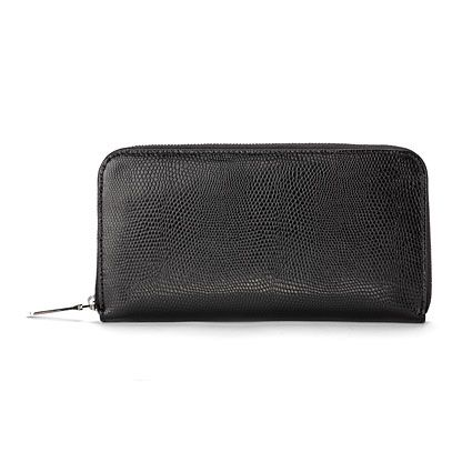 Continental Zip Around Wallet Black Lizard Print