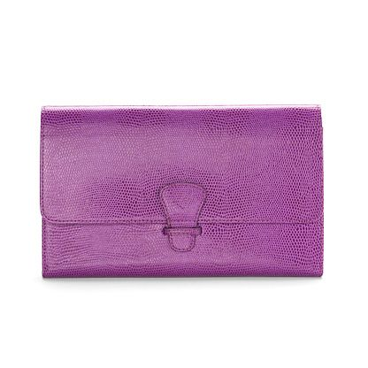 Classic travel wallet violet lizard print & cream