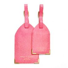 Set of 2 Luggage Tags in Pink Lizard print