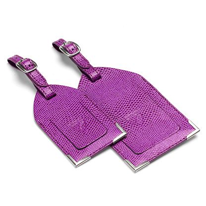 Set of 2 luggage tags violet lizard