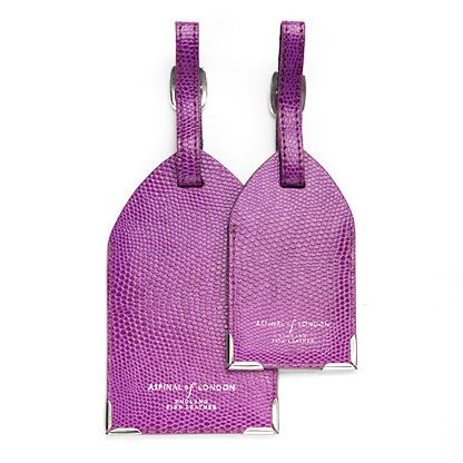 Set of 2 luggage tags violet lizard print