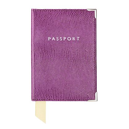 Plain passport covers violet lizard