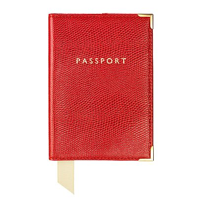 Plain Passport Covers Red Lizard Print