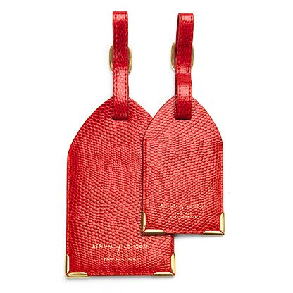 Set of 2 Luggage Tags Red Lizard Print