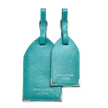 Set of 2 Luggage Tags Turquoise Lizard Print