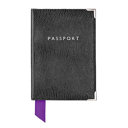Plain Passport Covers Black Lizard Print