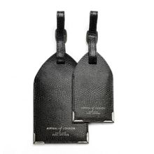 Set of 2 Luggage Tags in Black Lizard print