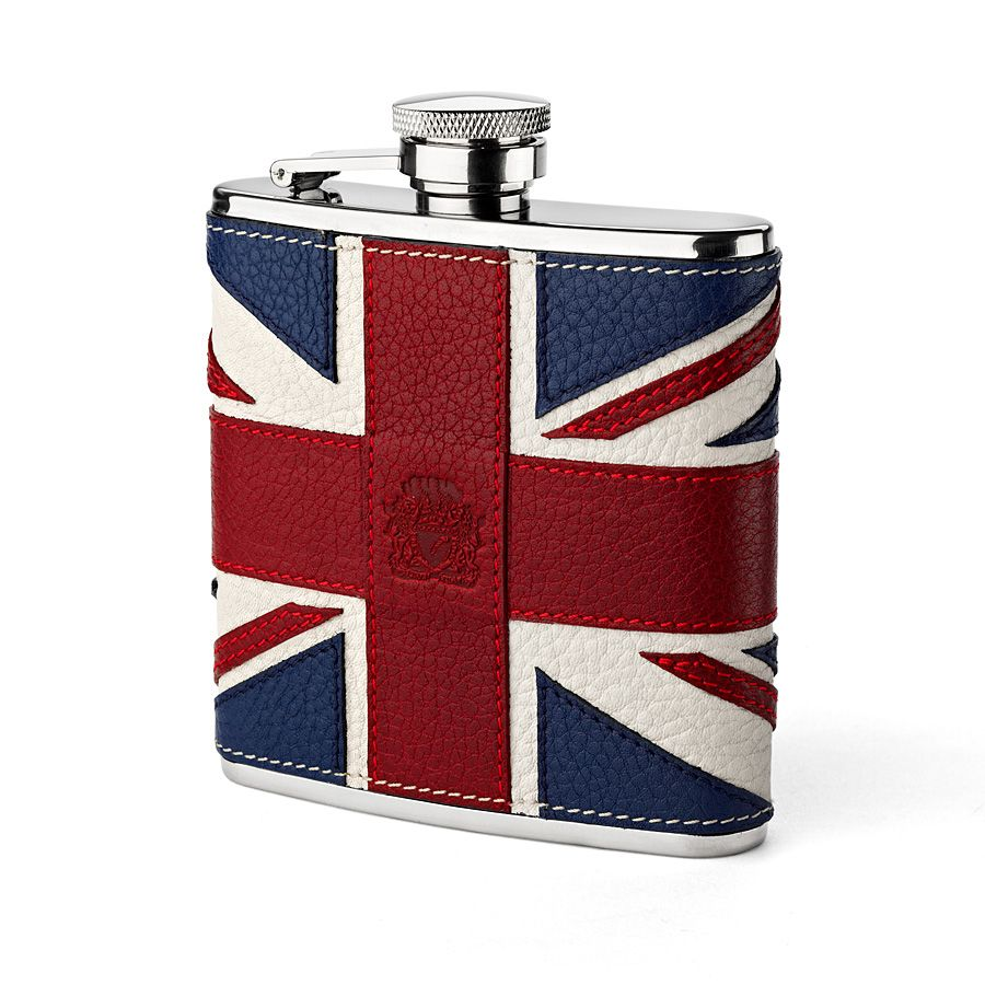 Image of Aspinal of London Brit classic hip flask, Multi-Coloured