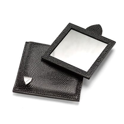 Compact travel mirror black lizard print