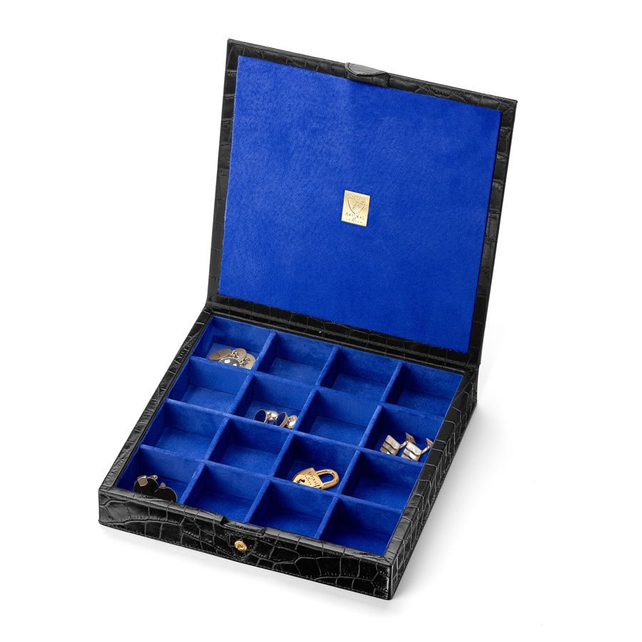 16 part cufflink box black croc & cobalt blue sue