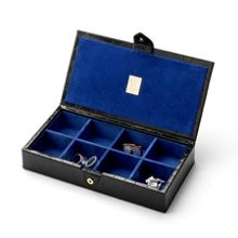 Aspinal of London Men`s cufflink box - black croc & cobalt