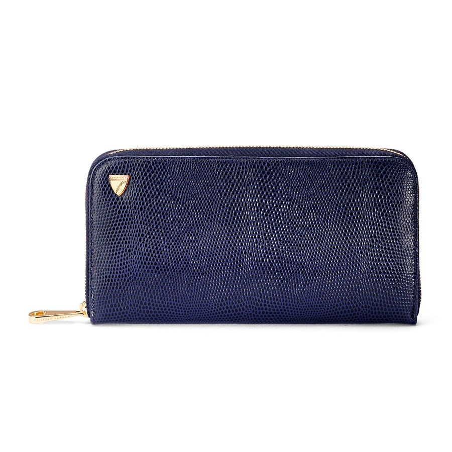 Continental clutch wallet navy lizard print