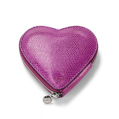 Heart coin purse violet lizard print & cream