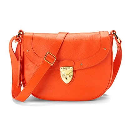 Portobello saddle bag orange pebble & cream suede