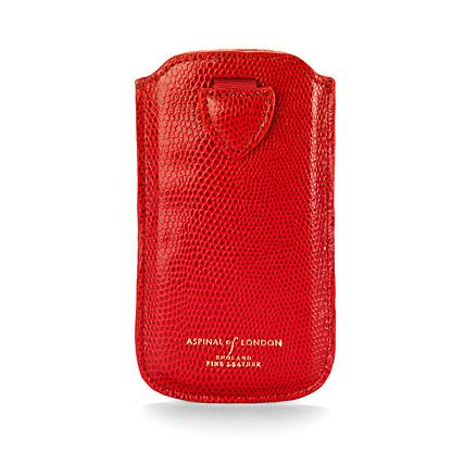 Iphone 5 case red lizard print & cream suede