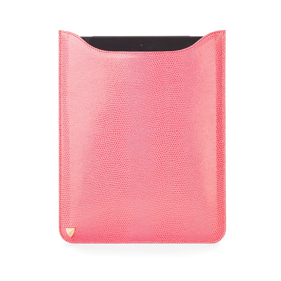 Ipad retina sleeve pink lizard print & cream