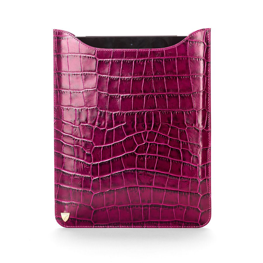 Ipad retina sleeve purple croc & cream suede