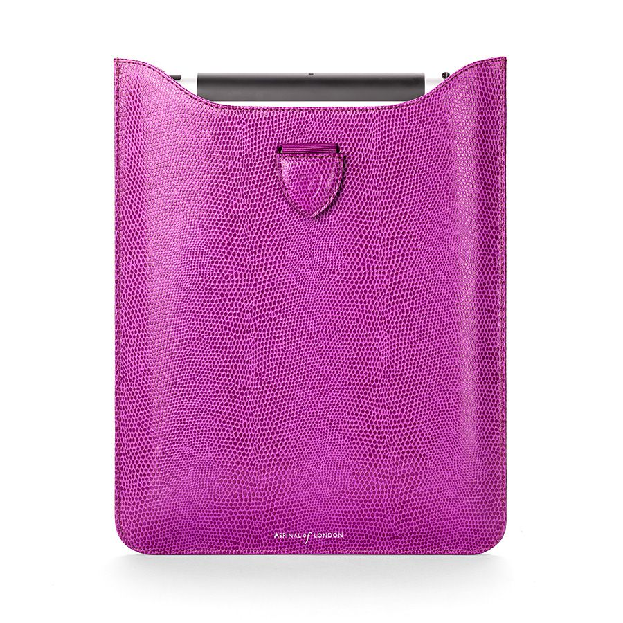 Ipad retina sleeve violet lizard print & cream