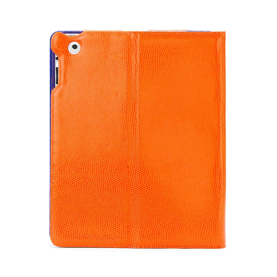 Ipad 3 stand-up case orange lizard print