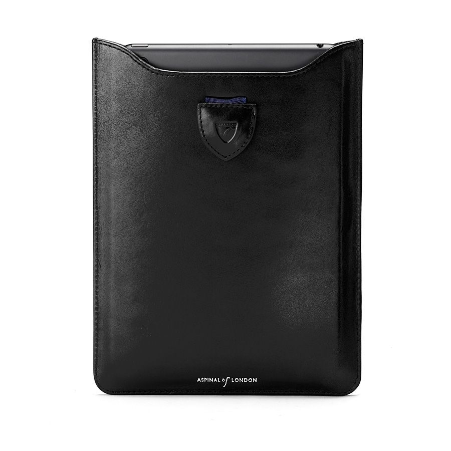 Ipad mini sleeve - black ebl & cobalt blue suede