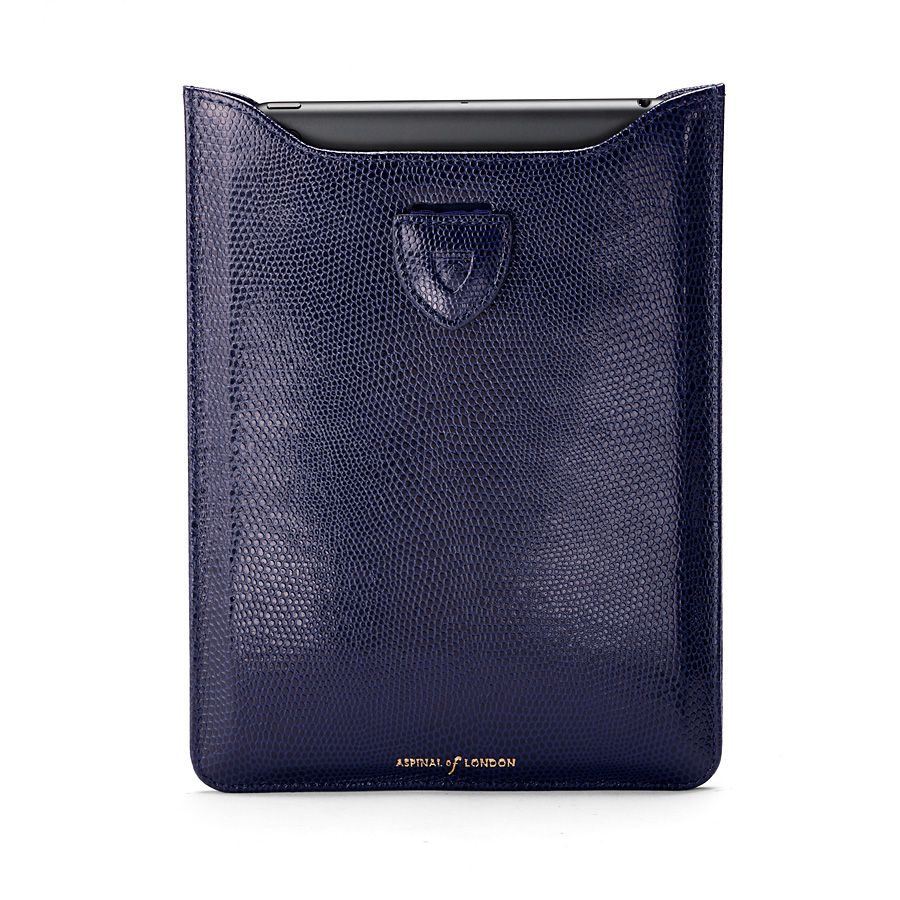 Ipad mini sleeve navy lizard print & cream suede