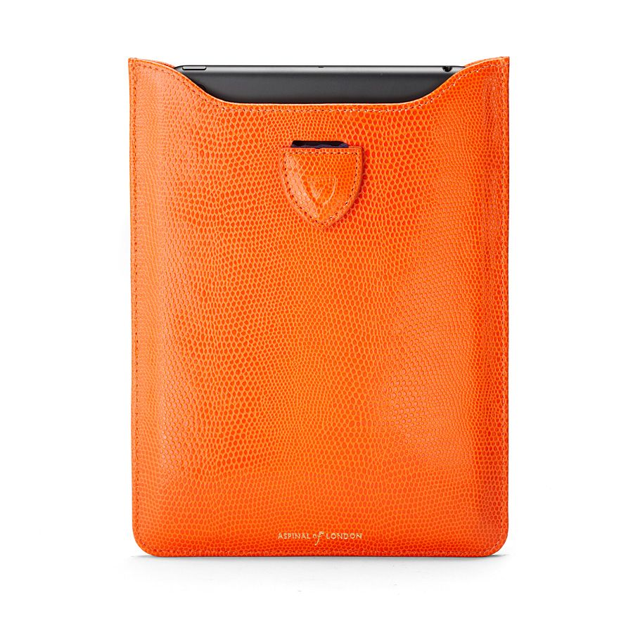 Ipad mini sleeve - orange lizard print & cobalt