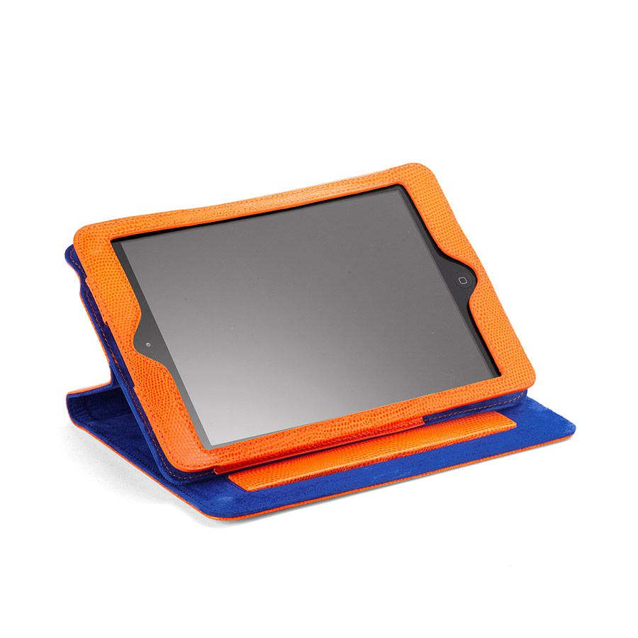 Ipad mini case orange lizard print & cobalt