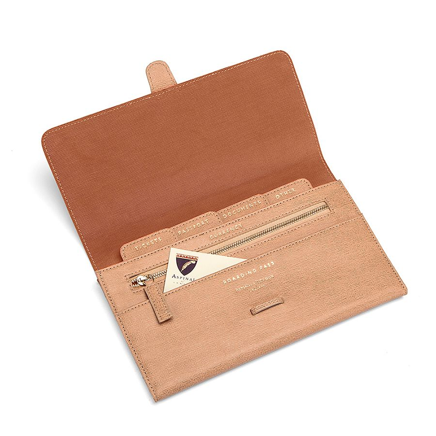Aspinal of London Classic travel wallet Cream