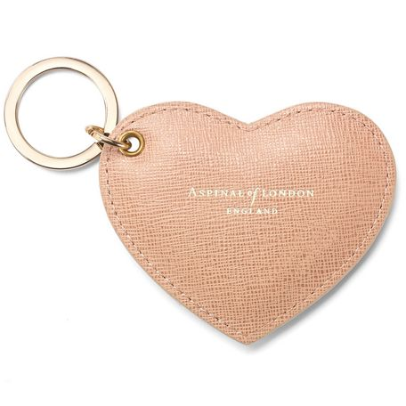 Aspinal of London Heart leather keyring