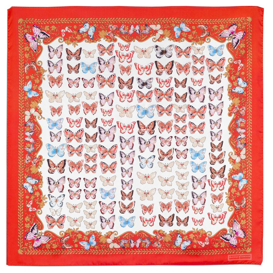 Silk scarf with butterflies