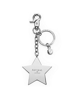 Metal star keyring silver plated