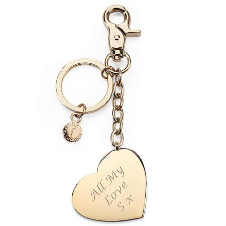 Aspinal of London Metal heart keyring gold plated