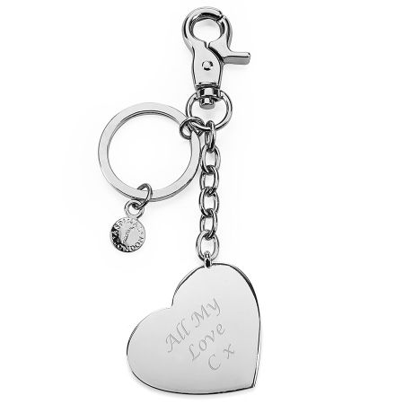 Aspinal of London Metal heart keyring silver plated