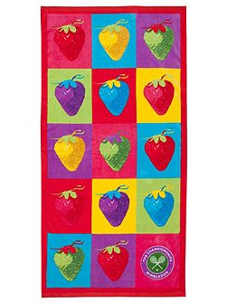 Wimbledon strawberry pop beach towel multi