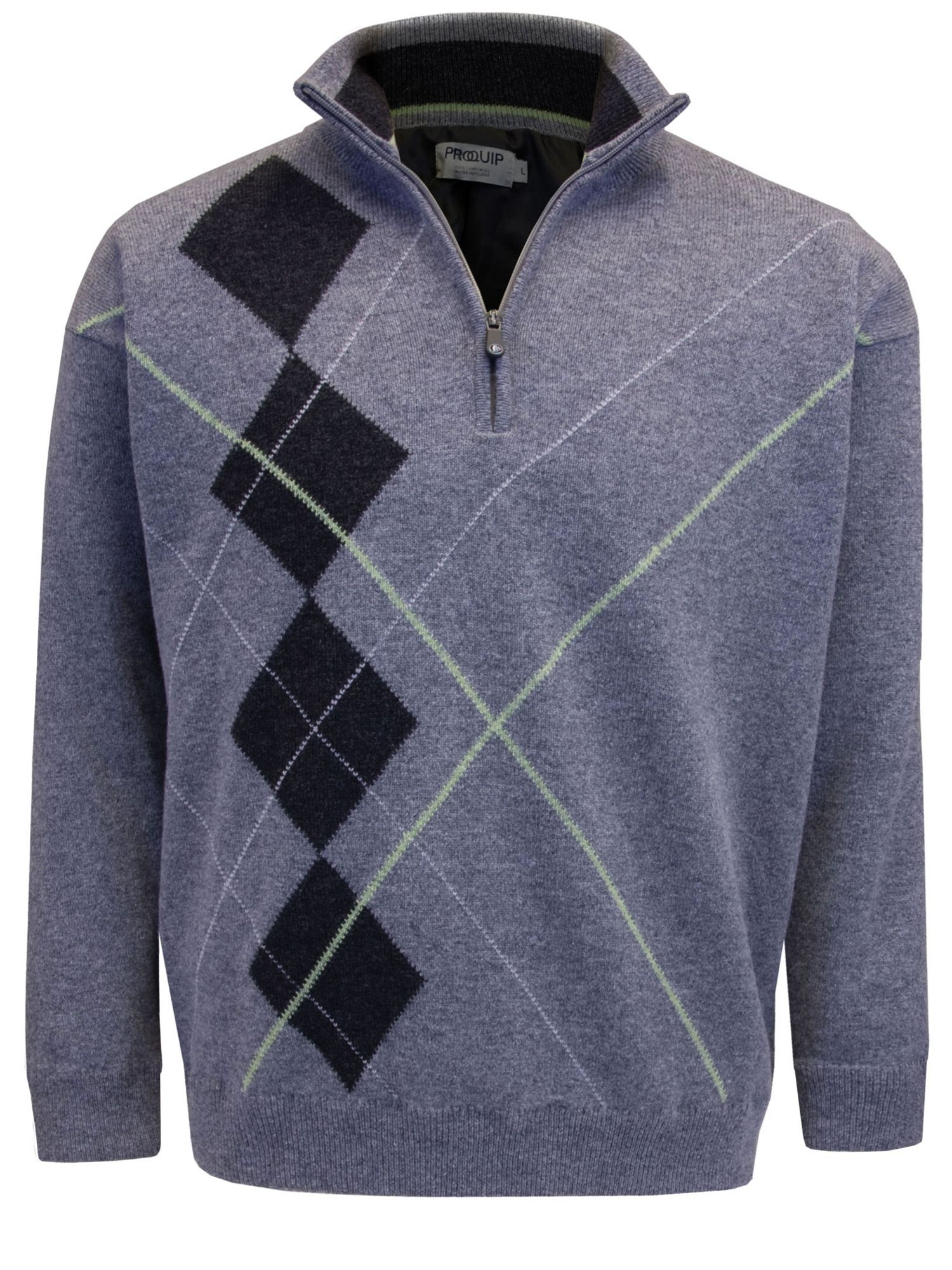 Half zip lined lambswool jumper