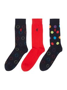 3 Pack Spotted Socks