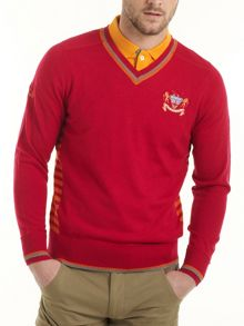 Crest N Stripe V Neck Merino Jumper
