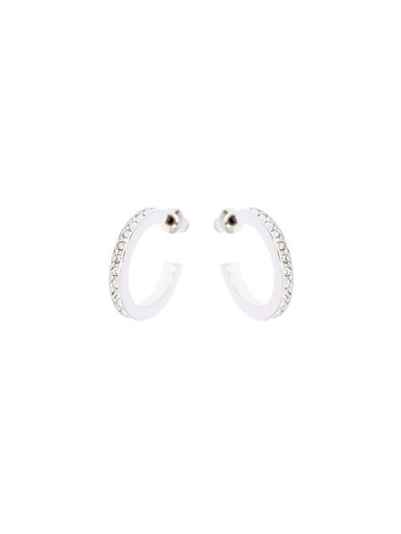Karen Millen Silver & crystal small hoop earrings