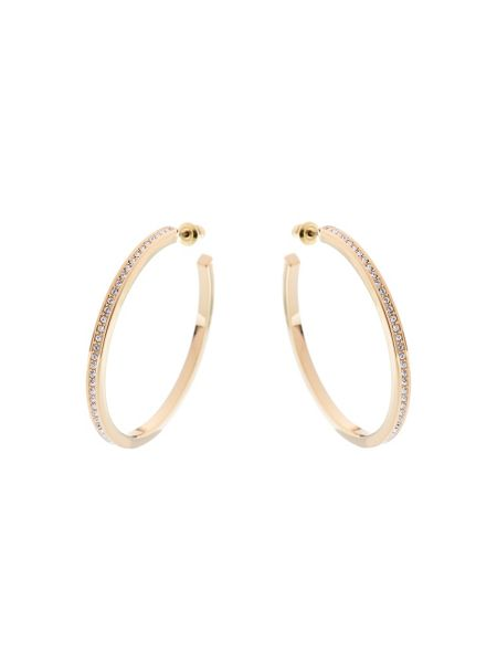 Karen Millen Gold & crystal large hoop earrings