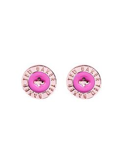 Tempany pink enamel button earring