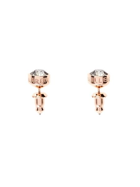 Karen Millen Rose gold & grey logo stud earring