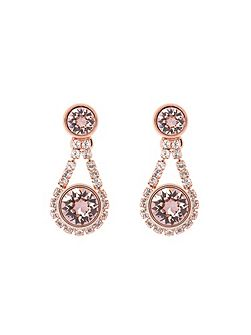 Stormm pink crystal daisy drop earring
