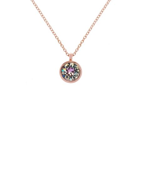 Karen Millen Rose gold & lilac crystal dot necklace
