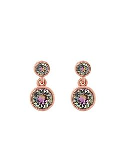 Rose gold & crystal dot drop earring
