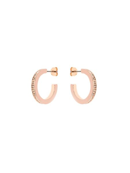 Karen Millen Rose gold & crystal small hoop earrings