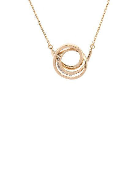 Karen Millen Gold & grey crystal ribbon pendant