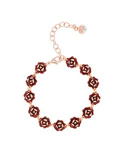 Elicia red enamel rose bracelet