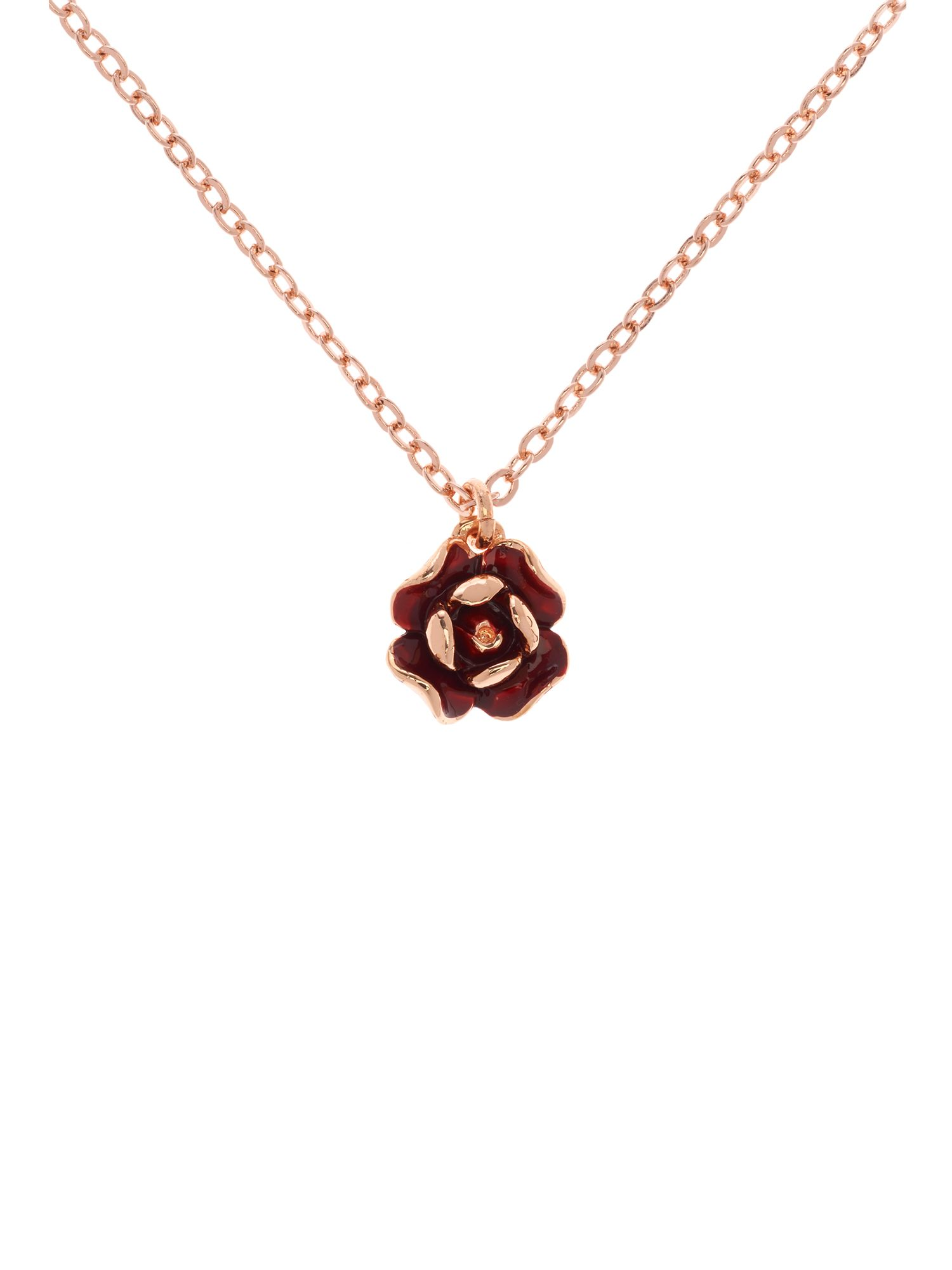Ted Baker Elliana red enamel rose pendant, N/A.