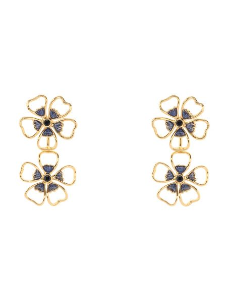 Ted Baker Lorel enamel flower double drop earring