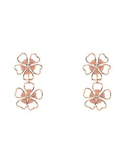 Lorel enamel flower double drop earring